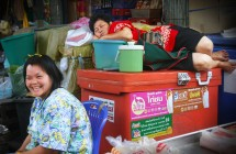 Quick naps at the market in South-East Asia