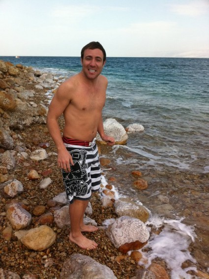 John - getting in the Dead Sea