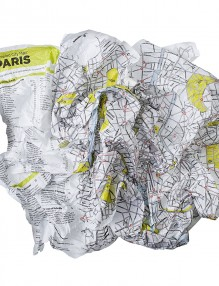 map - crumpled city paris