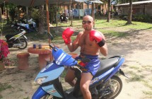 Roy on scooter while training at Rawai Muay Thai