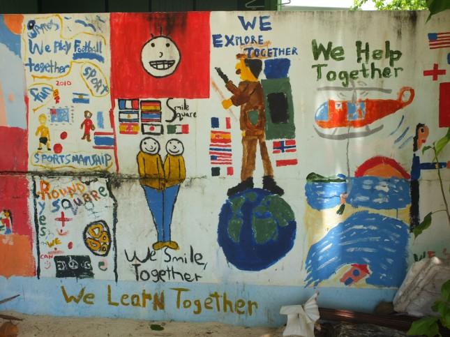 Kids paintings on Koh Phi Phi school