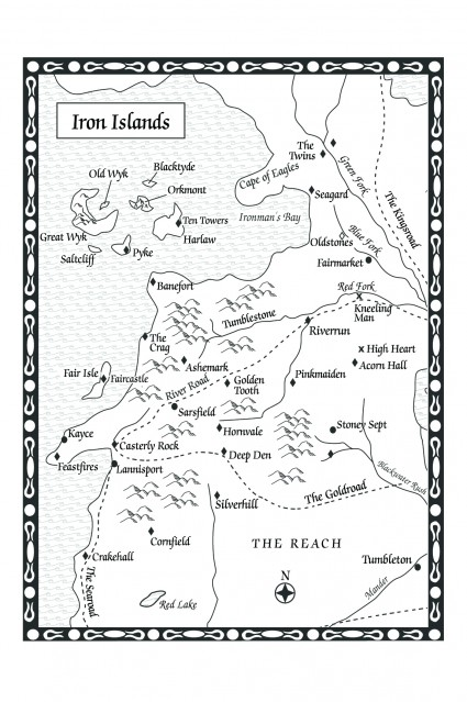Game of Thrones: Iron Islands map (from A Feast for Crows)