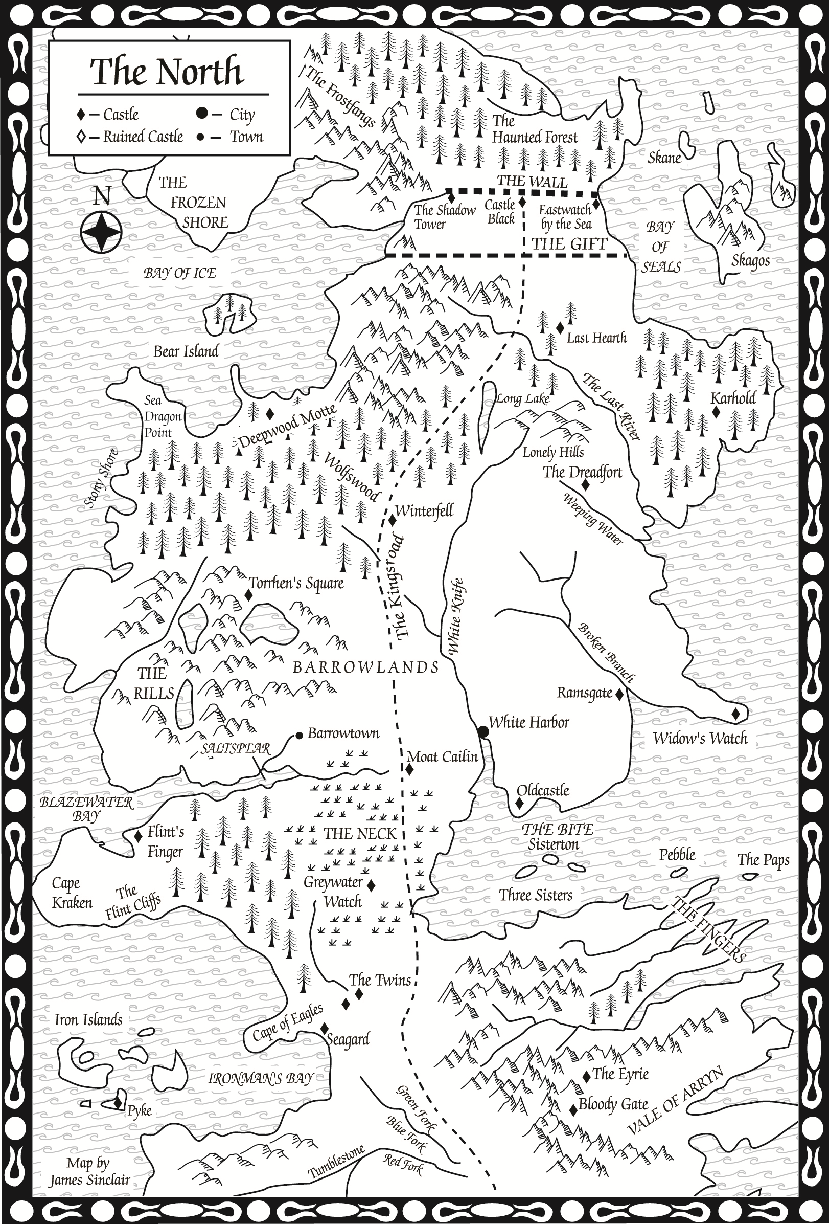 Original game of thrones maps hejorama game ofthrones the north map from a feast for crows gumiabroncs Image collections