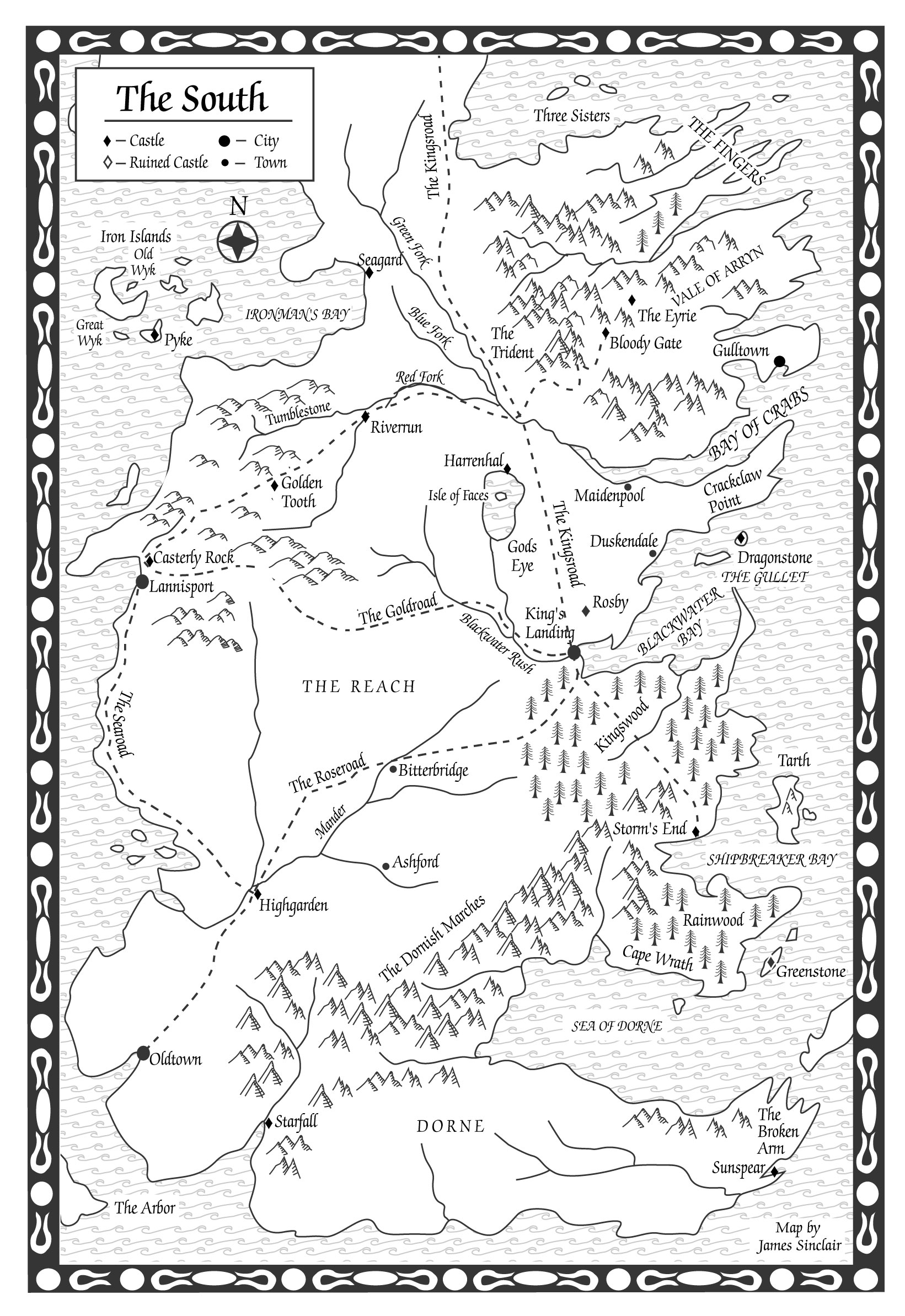 Original game of thrones maps hejorama game of thrones the south map a clash of kings gumiabroncs Image collections