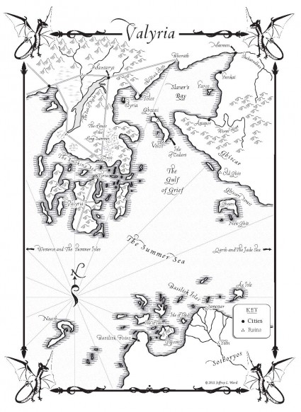Game of Thrones: Valyria map (from A Dance with Dragons)