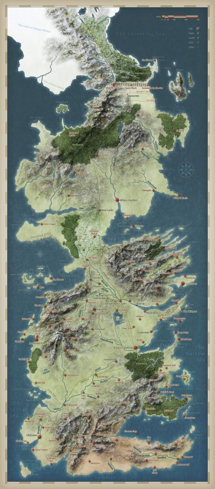 Map Game of Thrones - Westeros