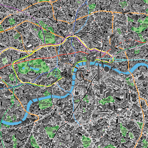 Hand drawn map of London by Jenni Sparks