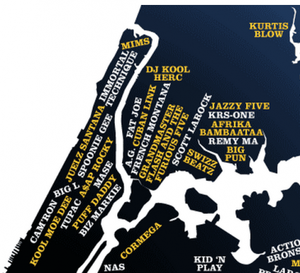 NYC Map of Rappers (Manhattan/Bronx)