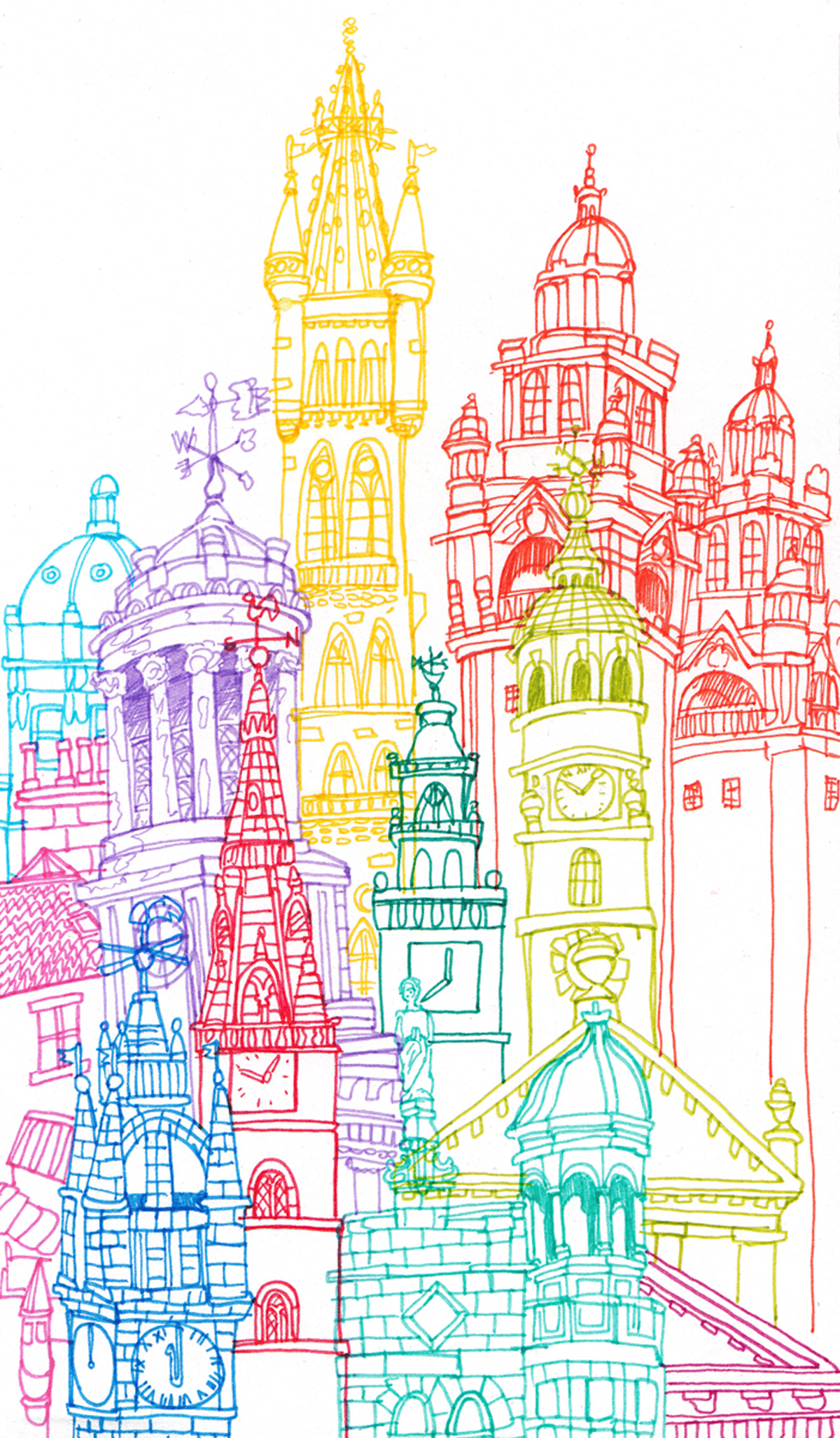 Line Art Illustration : Towers around the world by cheism hejorama